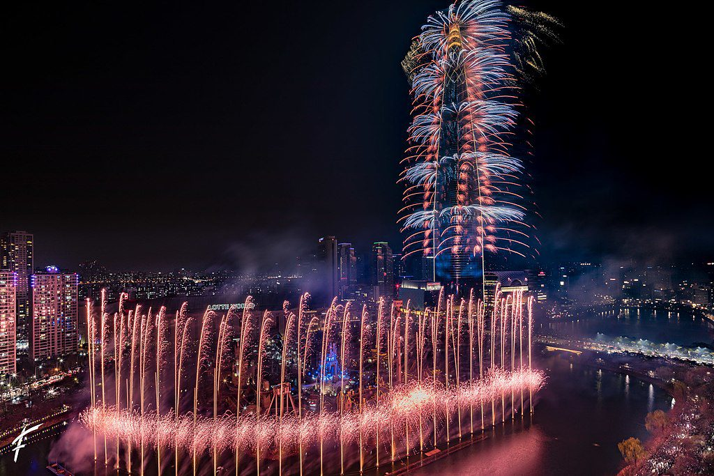 lotte world tower fireworks new year in seoul