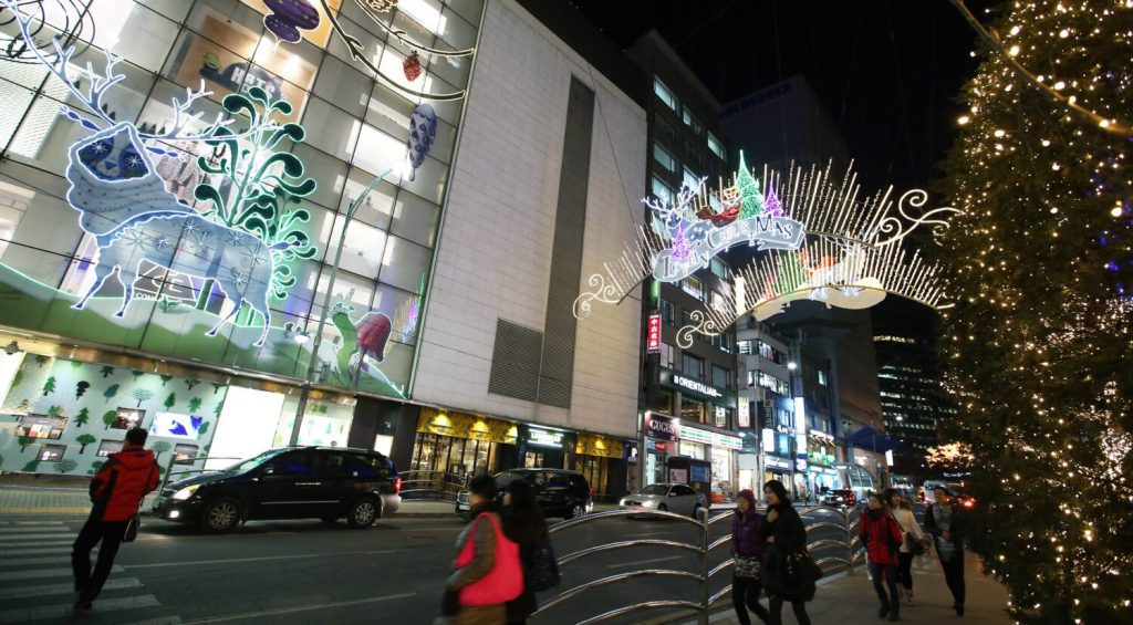myeongdong at christmas in seoul
