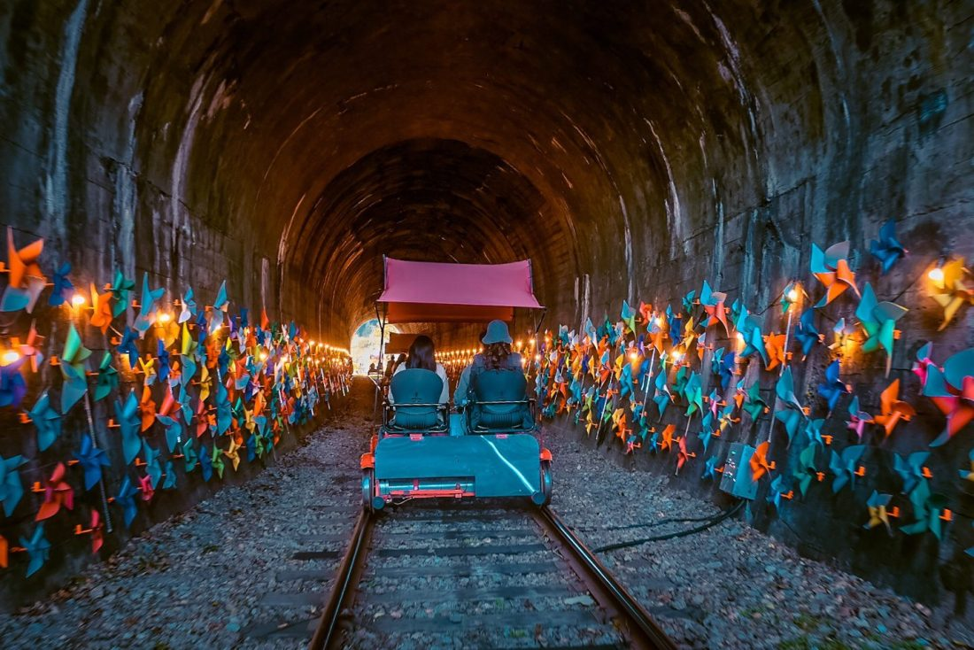 the pinwheel tunnel at gangchon rail bike