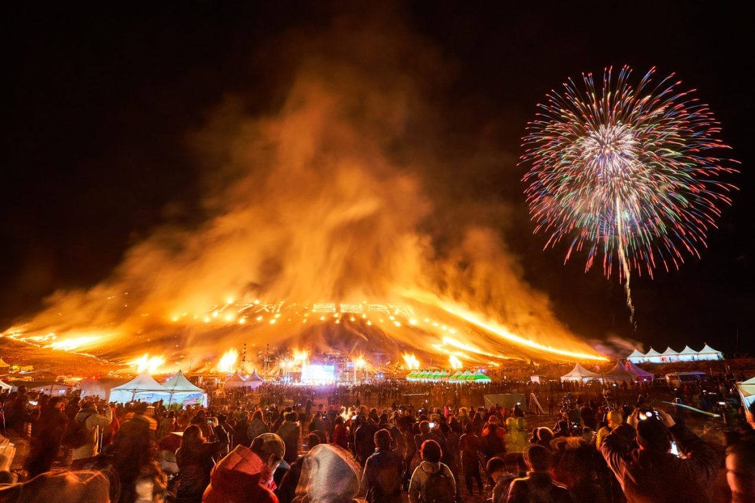 jeju fire festival during spring in korea