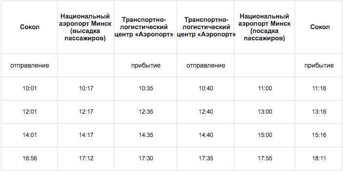 """Расписание автобуса №173Э из аэропорта """"Минск"""" до микрорайона Сокол"""