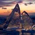 Закат на замерзшем Байкале