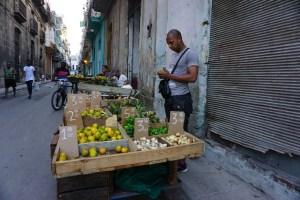 ハバナ旧市街の路上で野菜販売