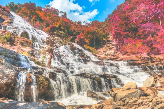 The Mae Ya Waterfall, stretching up around 260 metres, is one of the top things to see in North of Thailand