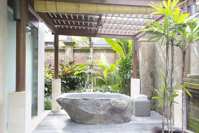 Unique authentic bathroom design in Villa Iskandar Bali
