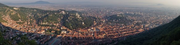 Brasov Hill Sunrise Hike Panoramic over old town