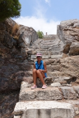 <h5>Ancient steps leading to the Areios Pagos.</h5><p>Very slippery! There is a modern metal staircase nearby.</p>