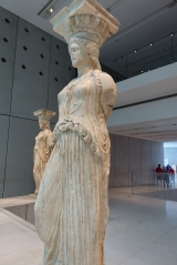 <h5>Akropolis Museum, The Karyatides</h5><p>Each has a different hairstyle, which also enhances the supporting feature of the statues.</p>