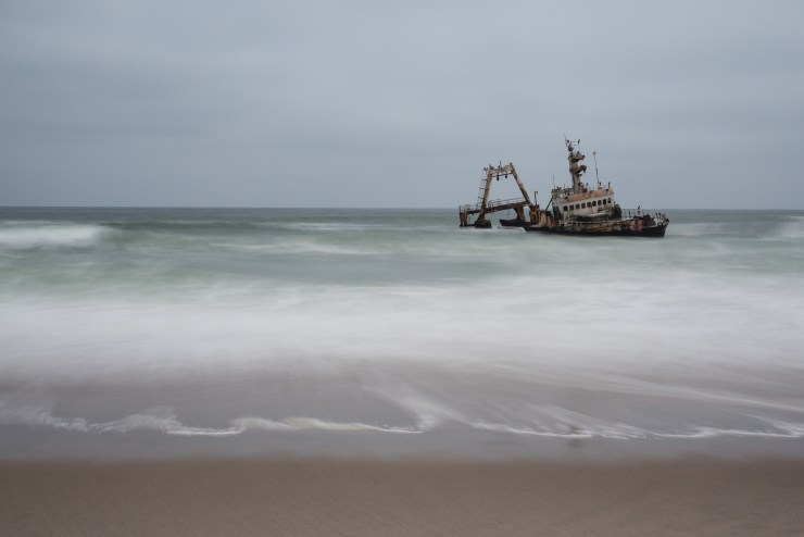 The rugged Skeleton Coast is home to countless shipwrecks, battered and beaten and left to decay in this remote corner of Namibia.
