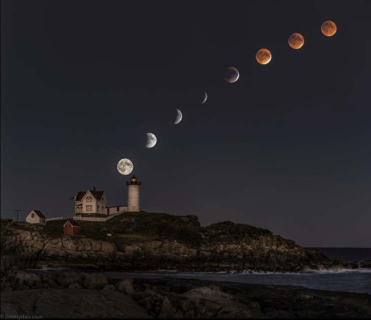 Nubble Lighthouse Maine Blood Moon-2