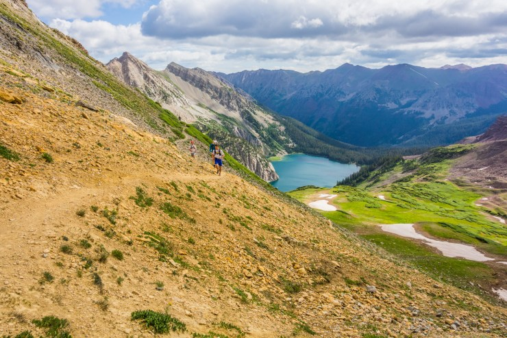 Running above Snowmass Lake