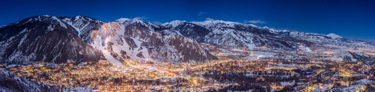 Aspen New Years Fireworks Panorama