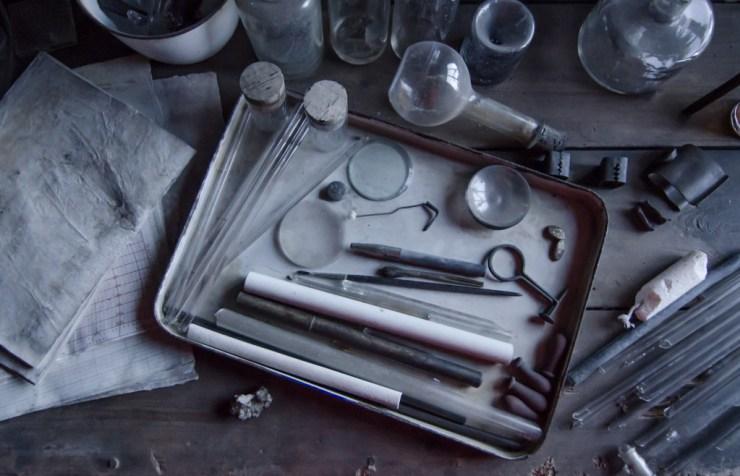 Early explorers scientific instruments inside Cape Evans