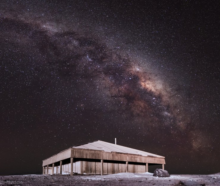 August 7 2015 This was taken at 3am. I used stellarium to know when the Milky Way would be in this location. Robert Falcon Scott and his crew built this hut during their 1901-1904 expedition.