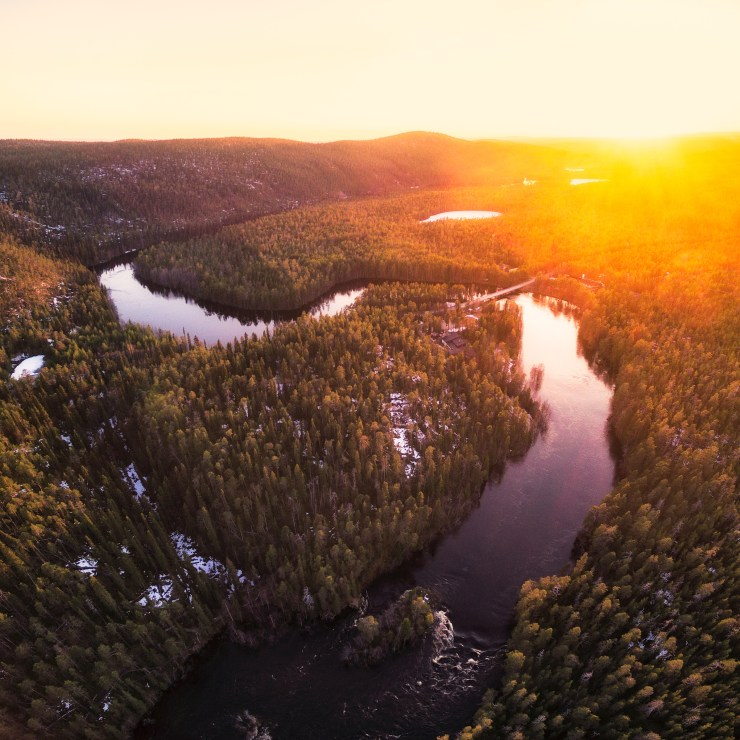 Finland Oulanka National Park drone at sunset by Michael Matti