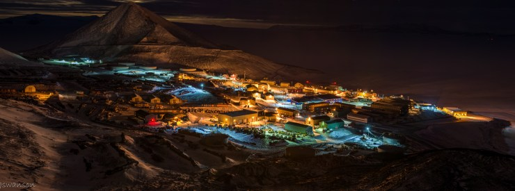 June 6 2015 This was taken shortly after a scheduled plane arrived. I just recieved my Tamron 70-200 and this is one of the first shots done with it. An HDR panoramic of McMurdo station.