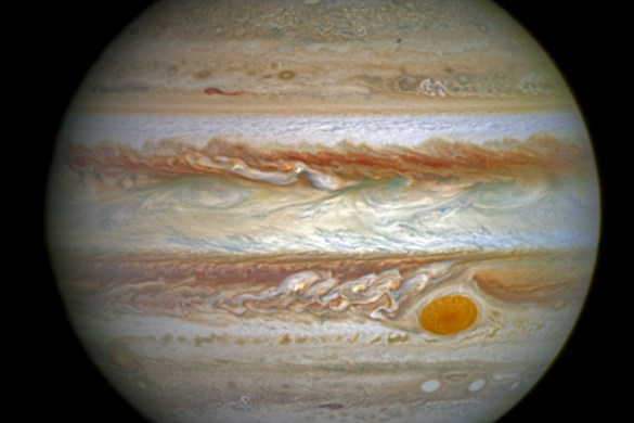 This full-disc image of Jupiter was taken on 21 April 2014 with Hubble's Wide Field Camera 3 (WFC3). Credits: NASA, ESA, and J. Nichols (University of Leicester)