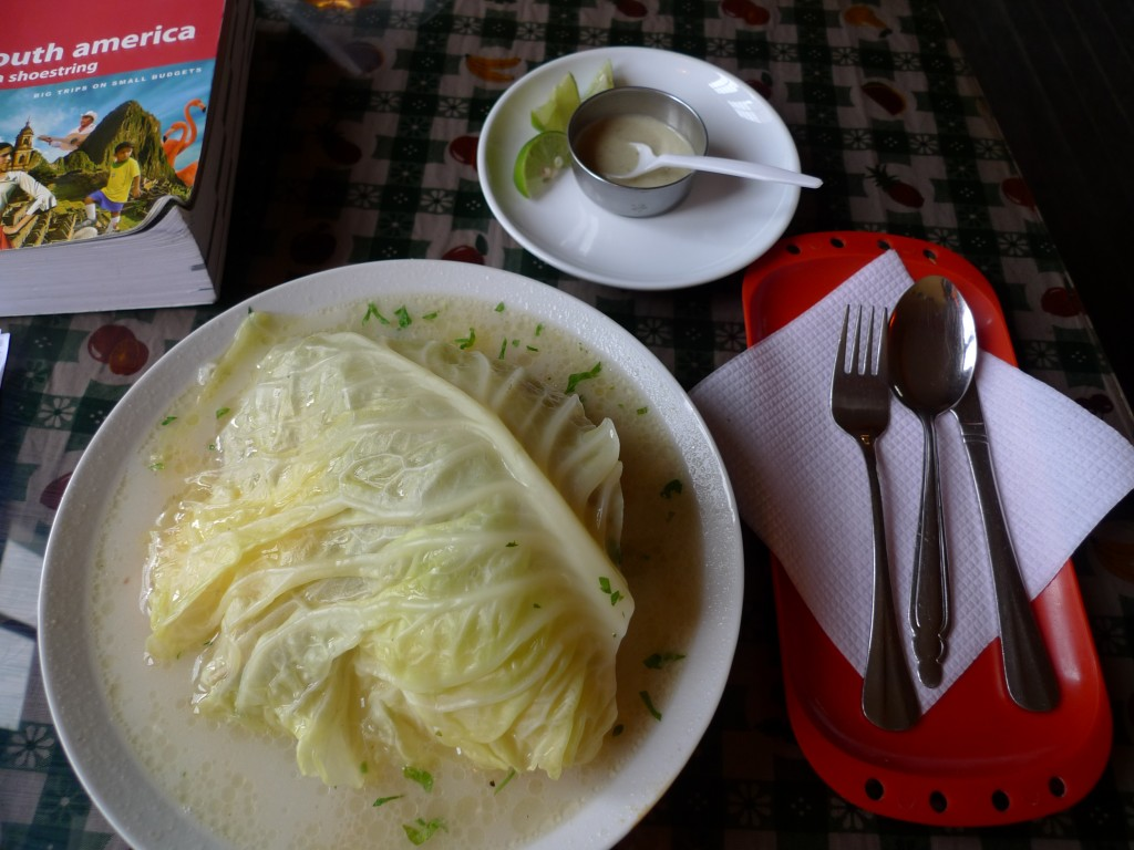 Amazing soup with cabbage, potato and beef for my 1st course almuerzo. And that hot sauce!