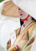 Imperial Palace, Kyoto, Japan. 23/10/2011  Participant in Kyoto's Jidai Matsuri (Festival of Ages). Delayed by a day due to rain, Jidai Matsuri took place with a parade of around 2000 Japanese in traditional costumes.