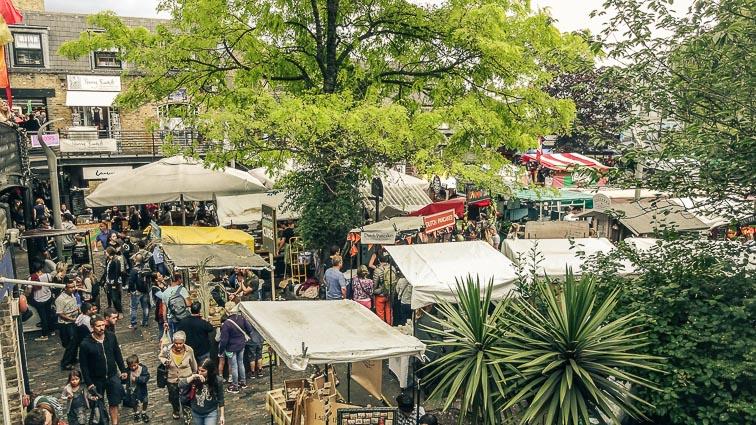 Lots of stalls at Camden Market, London