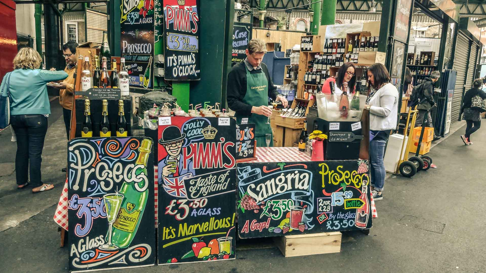 Wine stand on the Borough Market, London