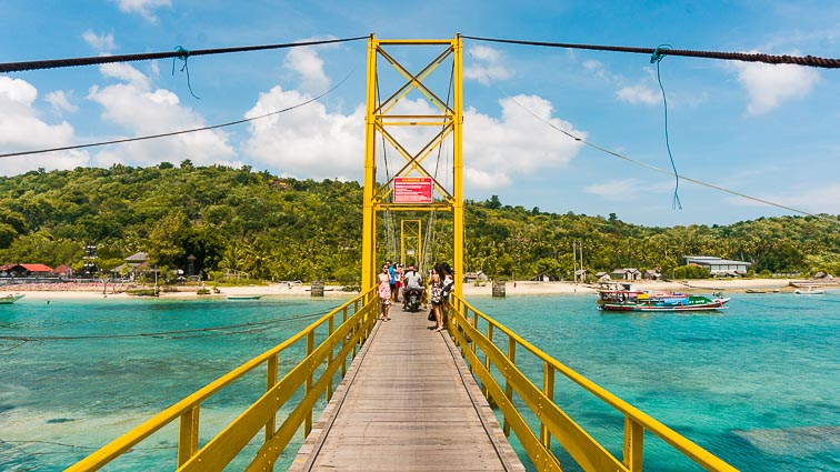 Nusa Lembongan and Nusa Ceningan. Yellow suspension bridge