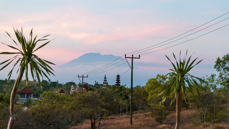 Nusa Penida. Mount Agung on Bali