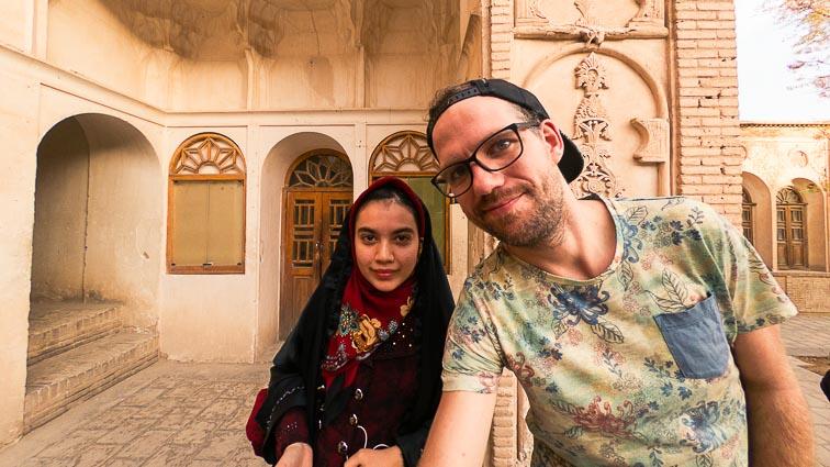 Iran Backpacking. Local girls in Kashan
