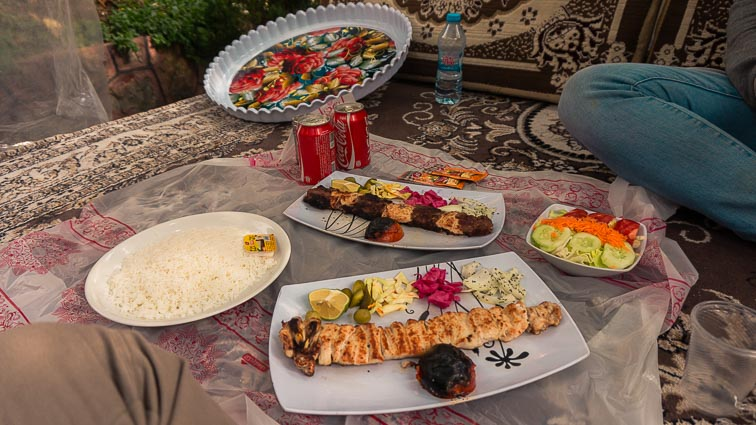 Iran Backpacking. Typical meal