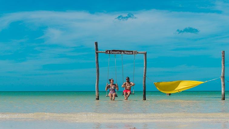Swings in the sea on Isla Holbox