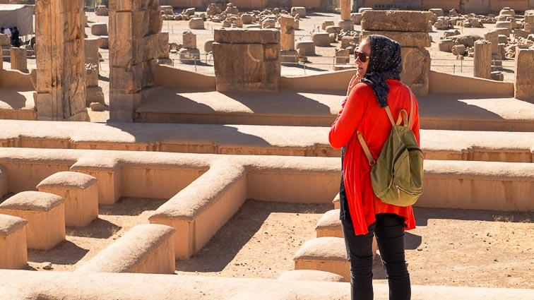 Route Iran. Kirsten at Persepolis