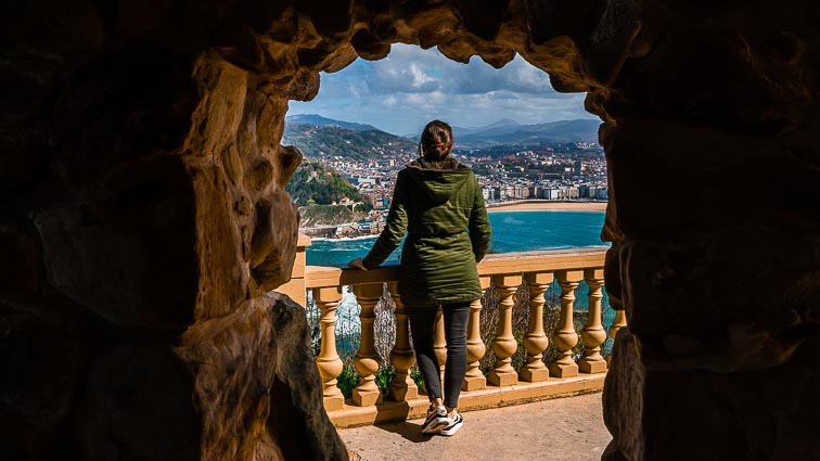 Kirsten looking out on San Sebastián. The city is an awesome destination for a city break in Spain