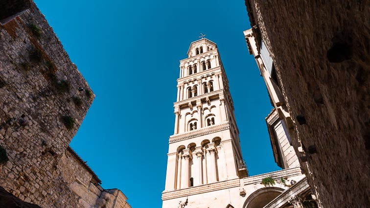 The Bell Tower seen from the streets of Split