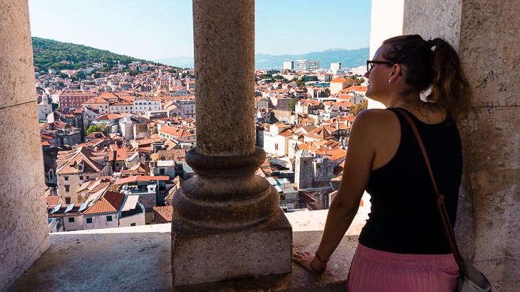 Kirsten in enjoying the view from the Bell Tower. Climbing the Bell Tower is one of the best things to do in Split