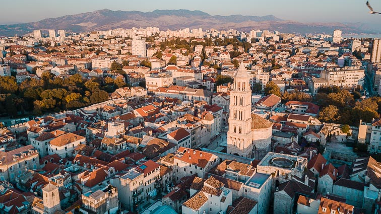 Drone photo: Old Town of Split with the prominent Bell Tower