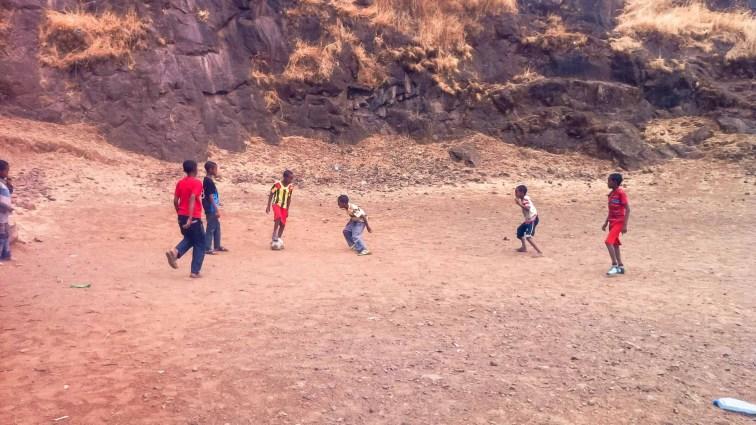 Kids playing football in Gondar, Ethiopia