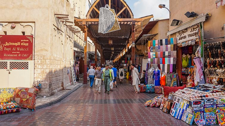 One of the old souks of Dubai converted into a souvenir market
