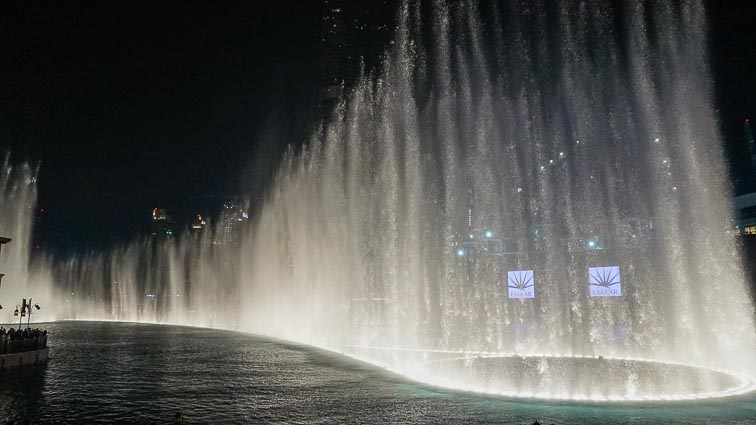 Dubai Mall fountain show. The largest in the world and it's for free!