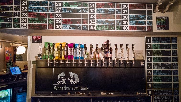 Beer taps in Mikkeller & Friends cafe near Nørrebro Park