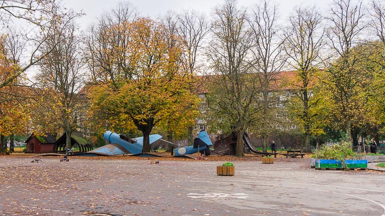 Playground in the Nørrebro Park. It has a climbing frame in the shape of a plane wreck.