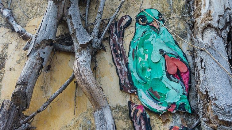 Bird street art on Penang