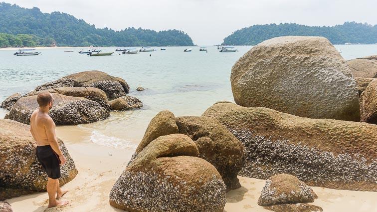 Erick on the beach on Pulau Pangkor