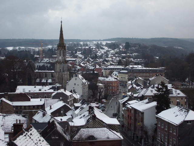 panoramic view of small town in covered in snow