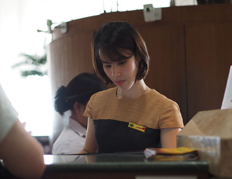 female hotel receptionist