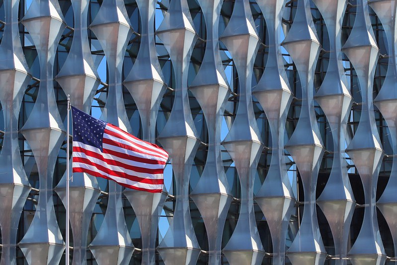 American flag at embassy in London