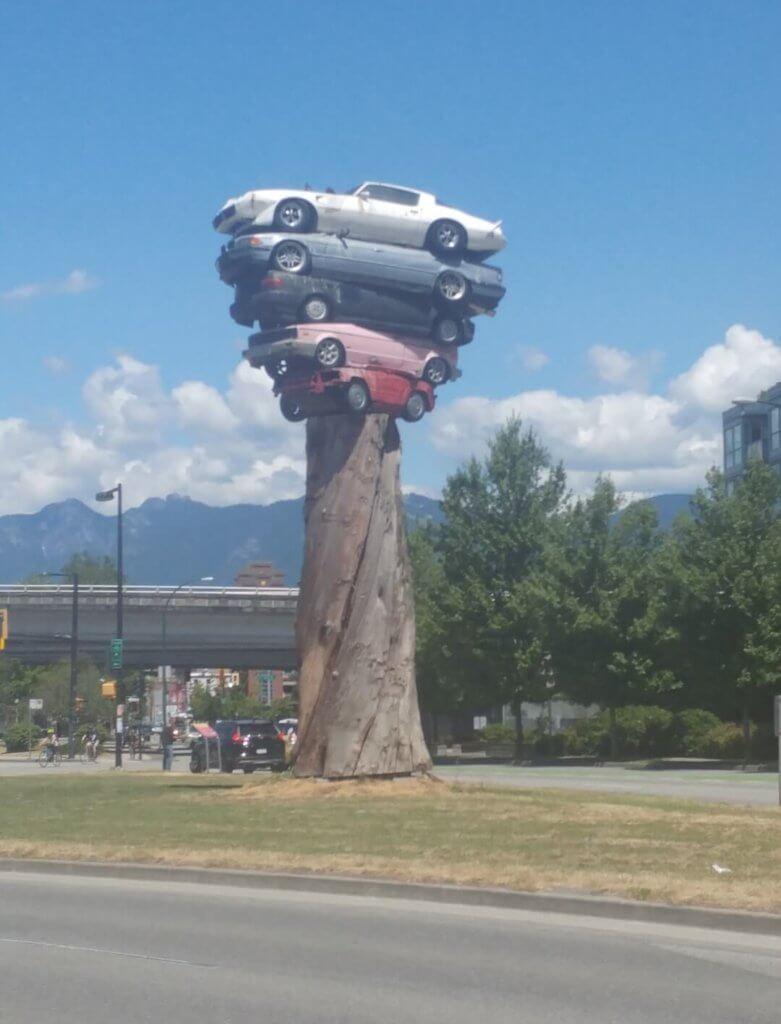 Trans Am Totem, art installation, cars