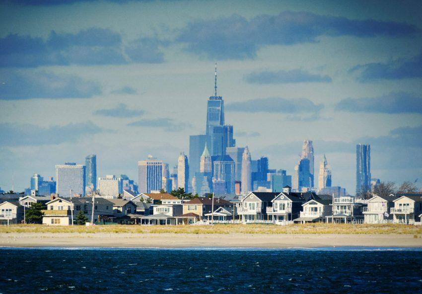 Freedom Tower and NYC Skyline from Rockaway Beach