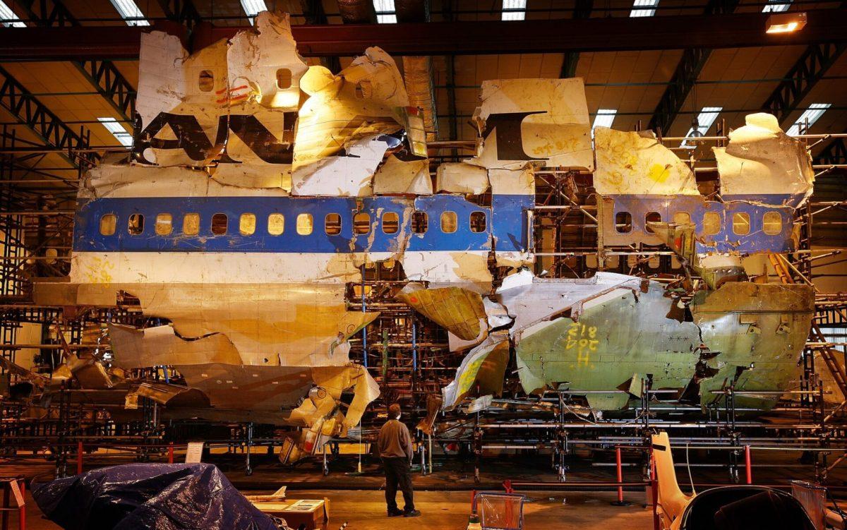 The Pan Am 103 wreckage at a warehouse in Farnborough