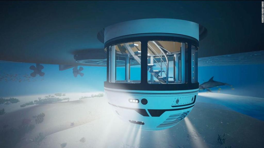 Superyacht feature transports passengers underwater in minutes