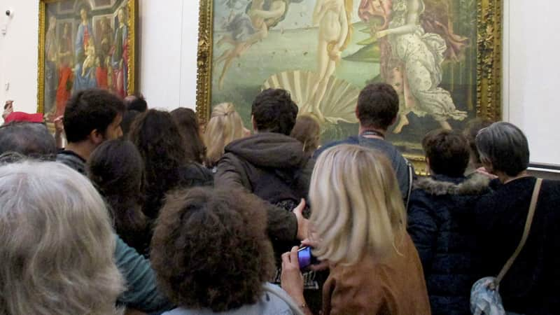 """The crowds at the Uffizi Galleries for artworks like Botticelli's """"Birth of Venus"""" were overwhelming pre-pandemic."""